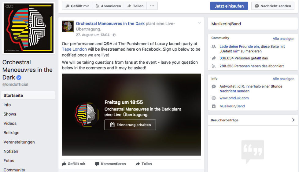 OMD feiern Album-VÖ mit Konzert-Übertragung und Q&A auf Facebook Live