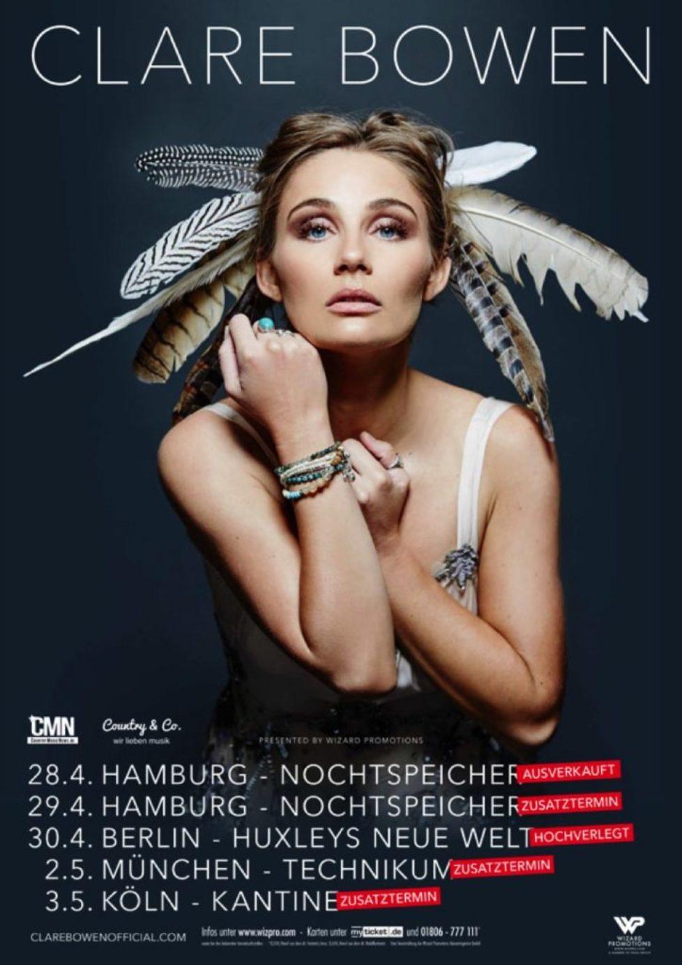 """Clare Bowen: Große Nachfrage zum Live-Debüt vom Star der TV-Serie """"Nashville"""" – Zusatztermine für Hamburg, München, Köln und Berlin hochverlegt."""